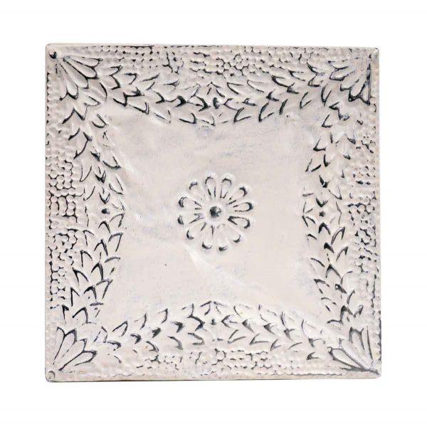 Tin Panels - Floral Four Fold White Antique Tin Ceiling Panel