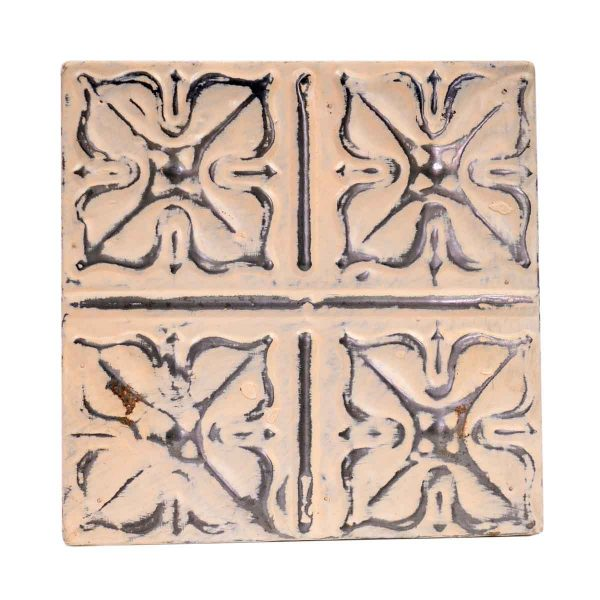 Tin Panels - Floral Interactive Cream Antique Tin Ceiling Panel