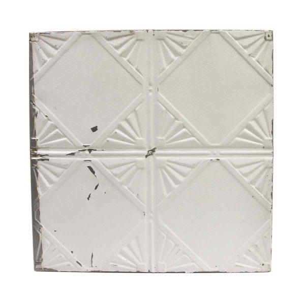Tin Panels - Four Fold Art Deco White Antique Tin Ceiling Panel