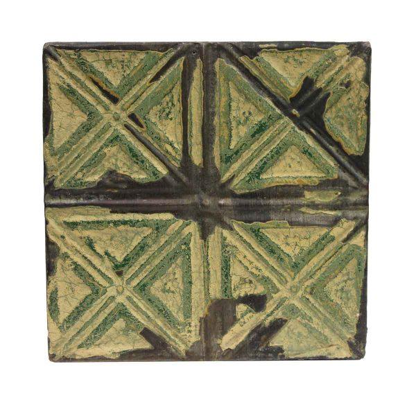 Tin Panels - Four Fold X Green Antique Tin Panel