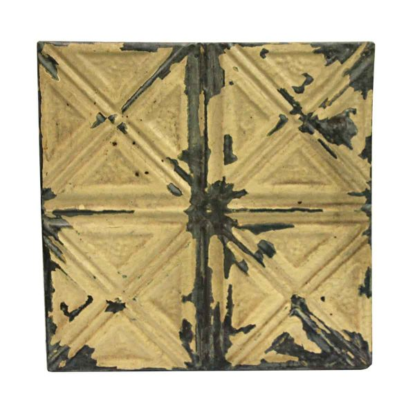 Tin Panels - Four Fold X Tan Cream Antique Tin Panel