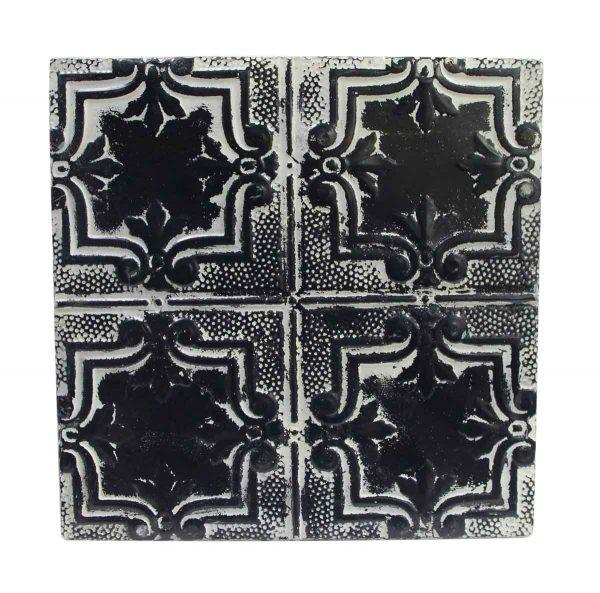 Tin Panels - Four Leaf Black & White Antique Tin Ceiling Panel
