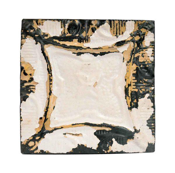 Tin Panels - Four Leaf White & Tan Antique Tin Ceiling Panel