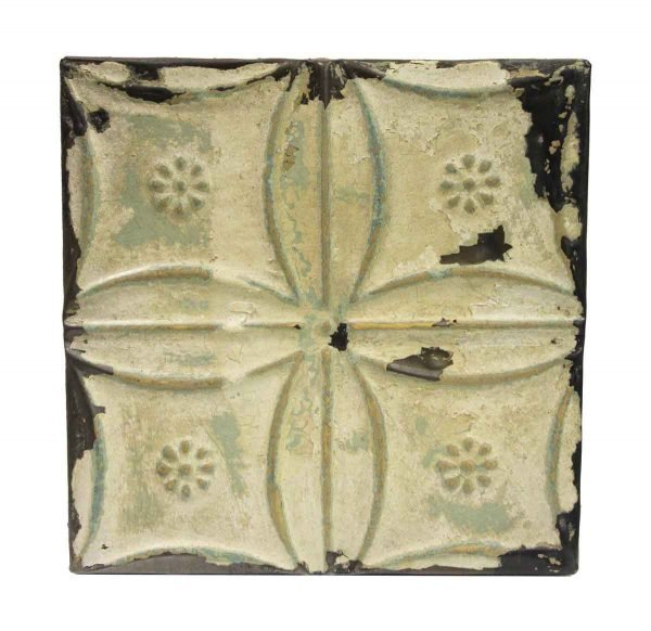 Tin Panels - Green & White Snowflake Antique Tin Panel