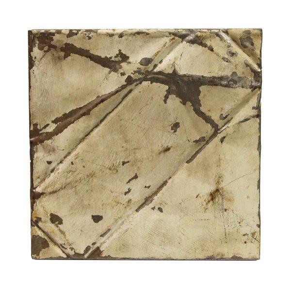 Tin Panels - Off White Diagonal Distressed Antique Tin Panel