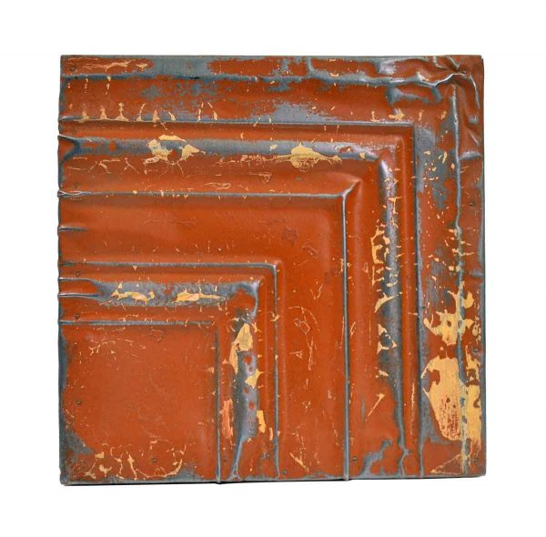 Tin Panels - Orange & Silver Corner Antique Tin Ceiling Panel