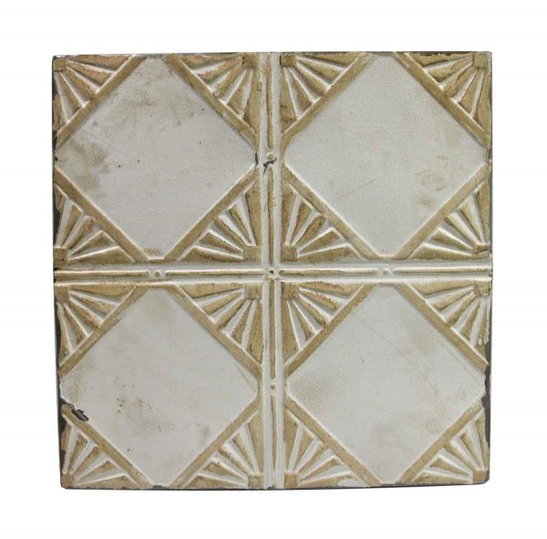 Tin Panels - Tan & White Art Deco Antique Tin Ceiling Panel