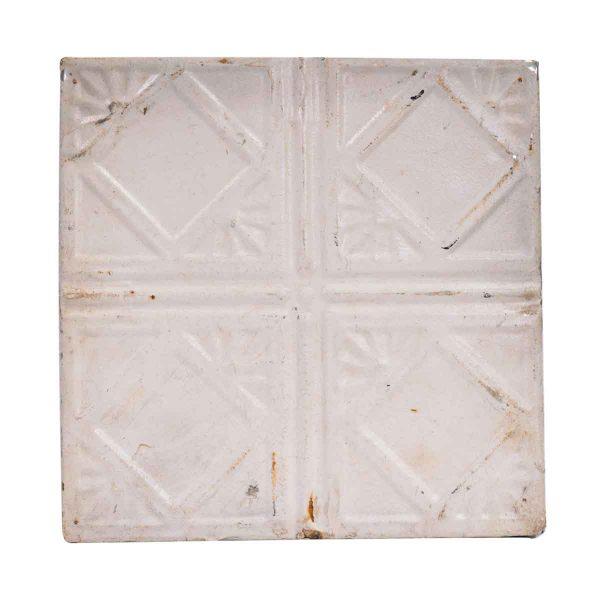Tin Panels - White Art Deco Four Fold Antique Tin Ceiling Panel