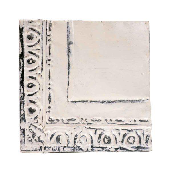 Tin Panels - White Egg & Dart Corner Antique Tin Ceiling Panel