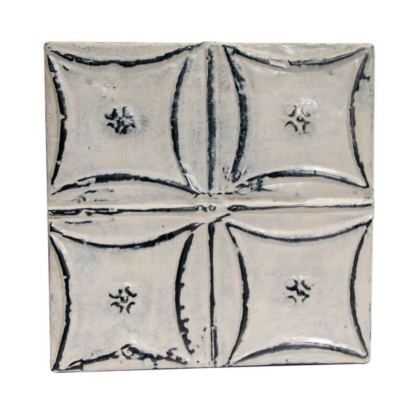 Tin Panels - White Snowflake Squares Antique Tin Panel