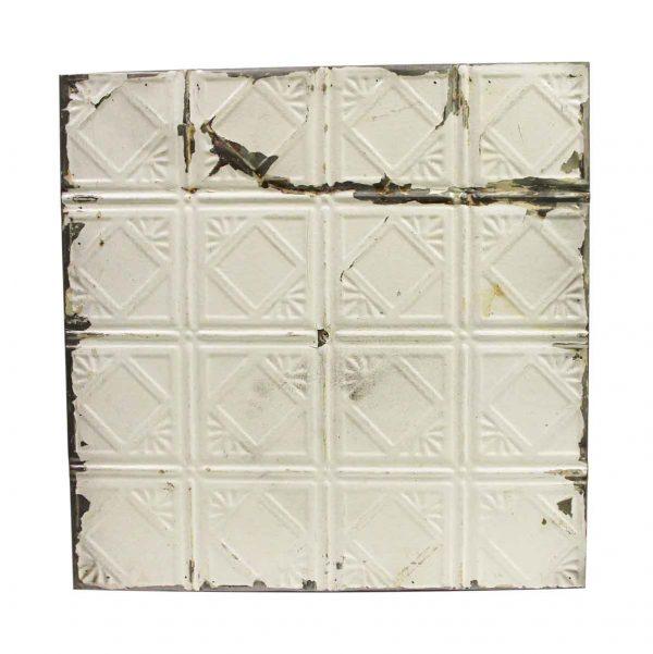 Tin Panels - White Squares Art Deco Antique Tin Panel