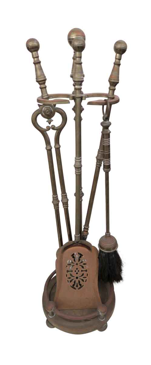 Tool Sets - Vintage Brass Fireplace Tool Set
