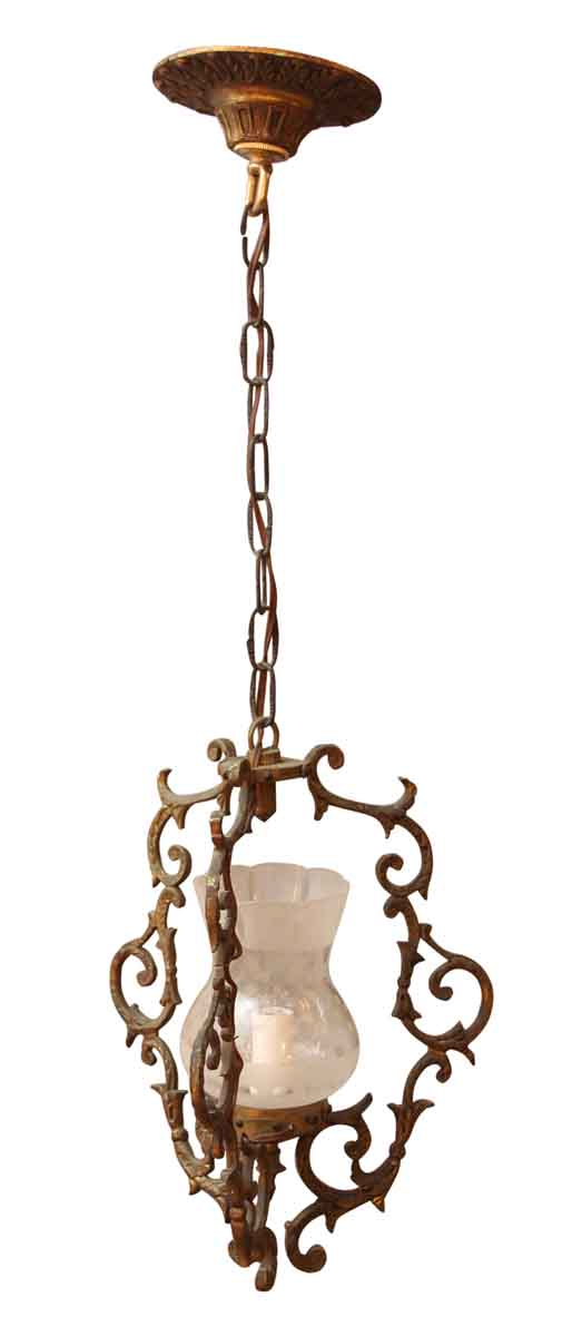 Up Lights - Victorian Bronze Pendant Light with Glass Shade