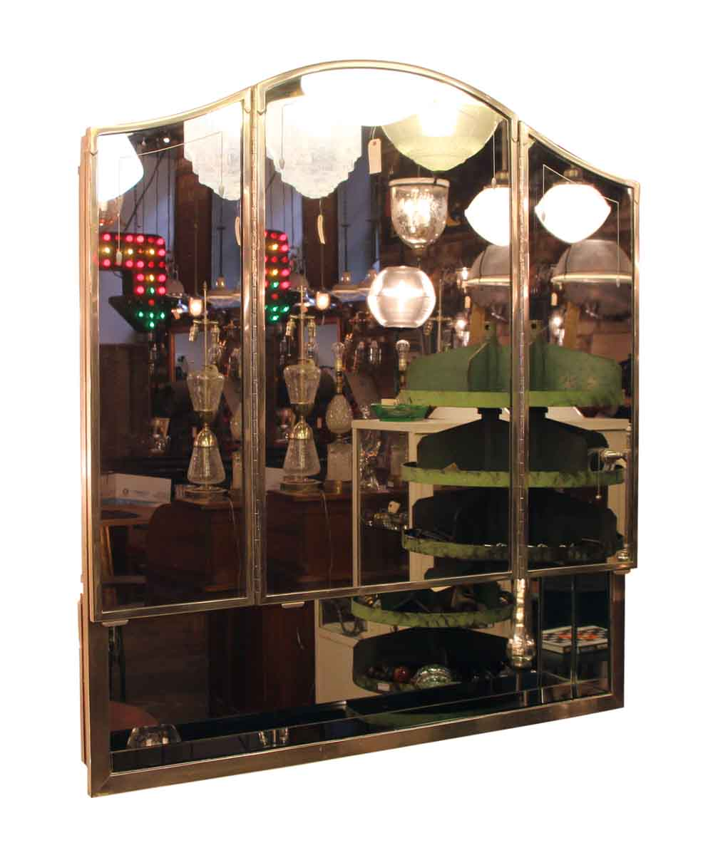 Salvaged Waldorf Art Deco Triple Mirror Medicine Cabinet Olde Good Things
