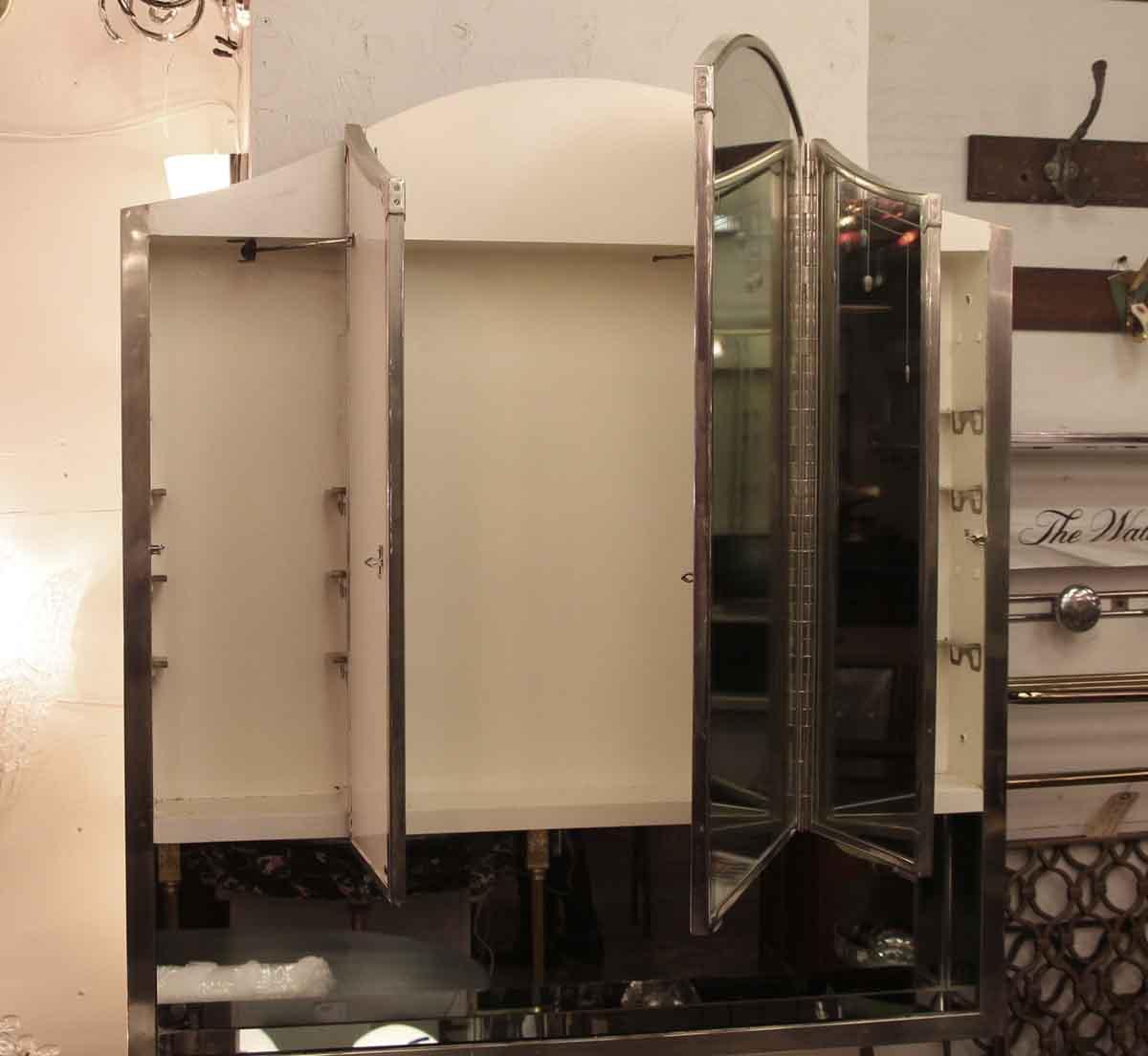 Salvaged Waldorf Art Deco Triple Mirror Medicine Cabinet