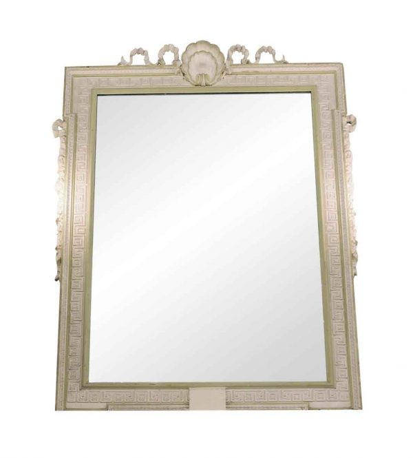 Antique Mirrors - Antique Waldorf Astoria White Greek Key Wood Mirror