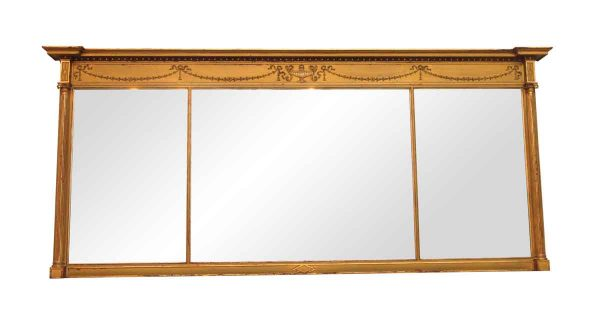Antique Mirrors - Gilded Wood Three Section Mirror