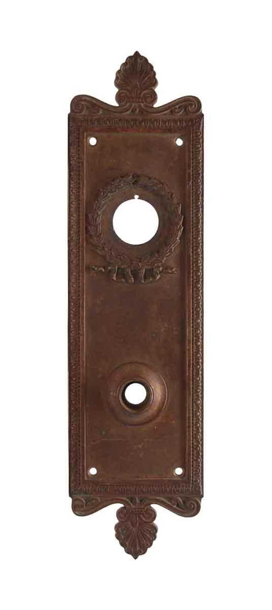 Back Plates - Antique Neoclassical Bronze Wreath Door Plate