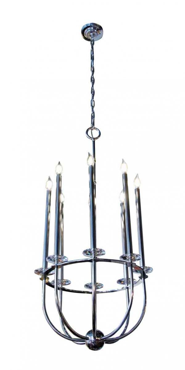 Chandeliers - 8 Light Mid Century Modern Chandelier with Curved Arms