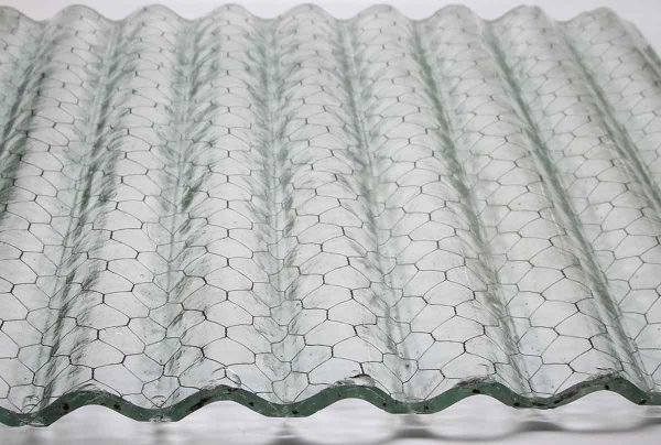 Chicken Wire Glass - Corrugated Fire Resistant Clear Colored Chicken Wire Glass