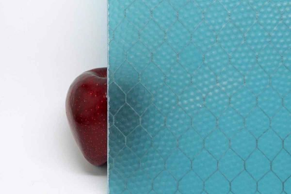 Chicken Wire Glass - Vintage Aqua Textured Chicken Wire Glass