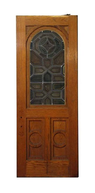 Arched Stained Glass Swinging Church Door