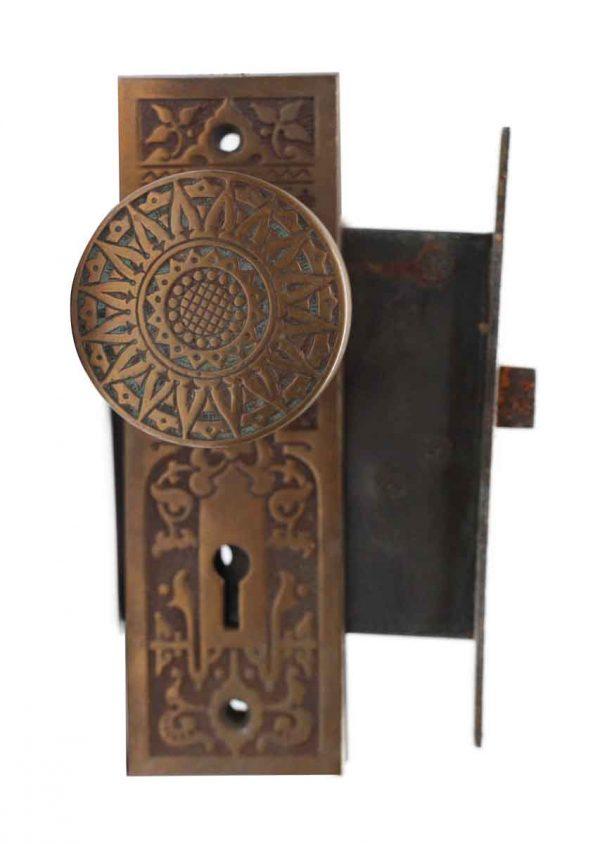 Door Knob Sets - Bronze Vernacular Door Knob Lock & Back Plate Set