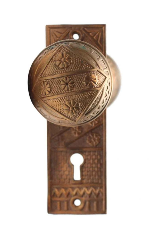 Door Knob Sets - Polished Bronze Vernacular Door Knob & Back Plate Set