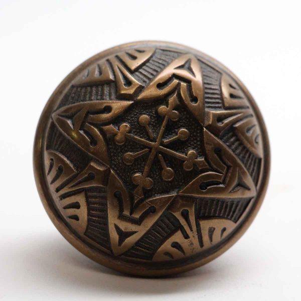 Door Knobs - Antique Bronze Vernacular 1885 4 Fold Door Knob