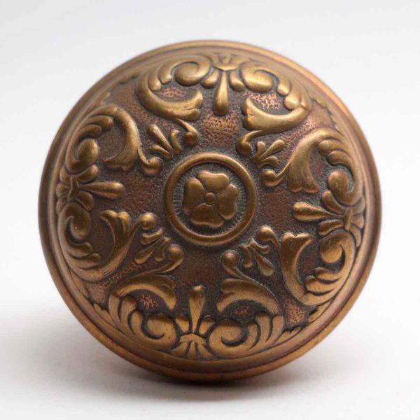 Door Knobs - Antique Sargent 4 Fold Floral Bronze Door Knob