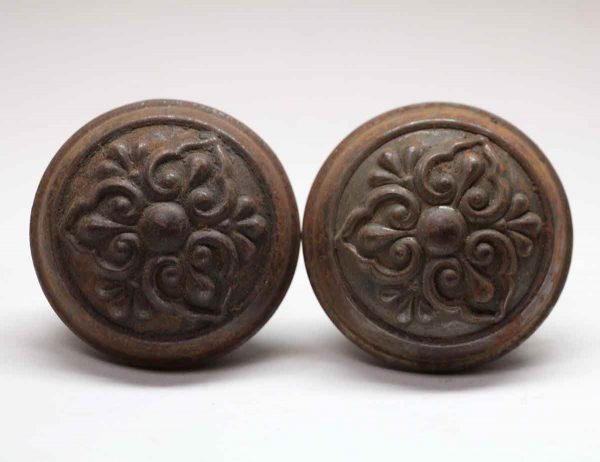 Door Knobs - Pair of Cast Iron Lockwood Door Knobs