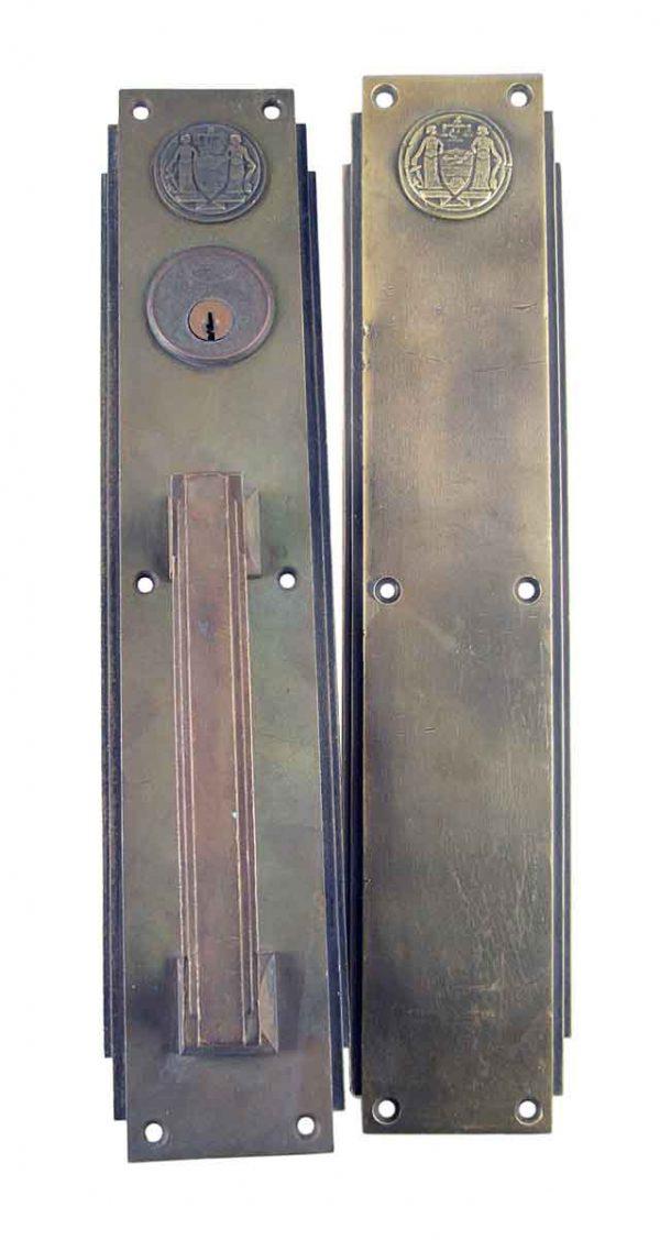 Door Pulls - Deco Bronze Push & Pull Door Plate Set from the Philadelphia Civic Center