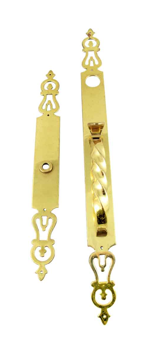 Door Pulls - Solid Polished Brass Front Door Handle Set