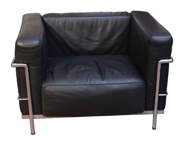Living Room - Mid Century Leather Le Corbusier Style Arm Chair
