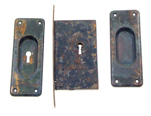 Pocket Door Hardware - Antique Pocket Door Handles & Corbin Lock Set