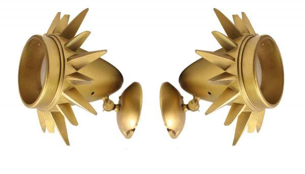 Sconces & Wall Lighting - Pair of Gold Sunburst Wall Sconces