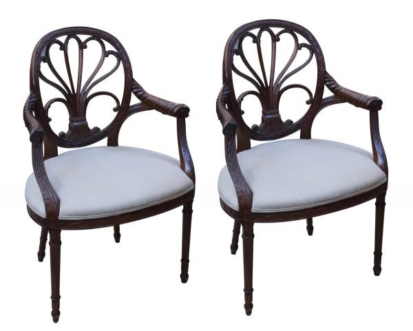 Seating - Pair of Highly Carved Walnut Arm Chairs