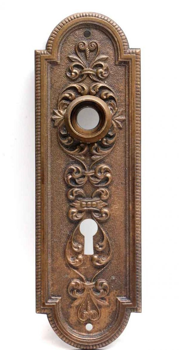 Back Plates - Dark Patina Victorian Brass Door Back Plate with Keyhole
