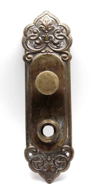 Vintage Iron Door Knobs Handles Backing Plate Architectural Antique Old