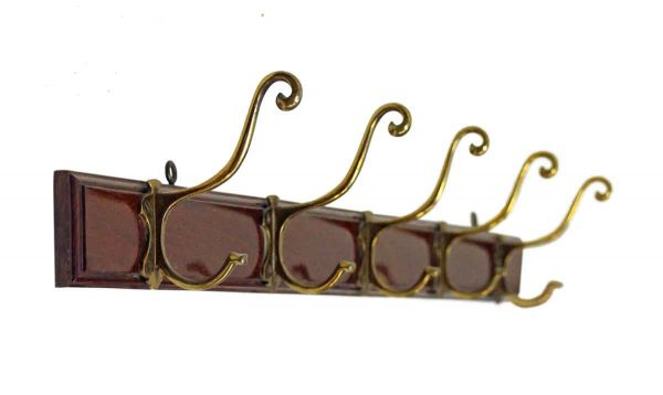 Coat Racks - European Mahogany Wood Plank with Brass Hooks