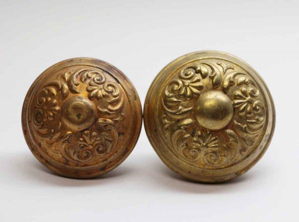 Door Knobs - Antique Lockwood Colonial 3 Fold Brass Door Knobs