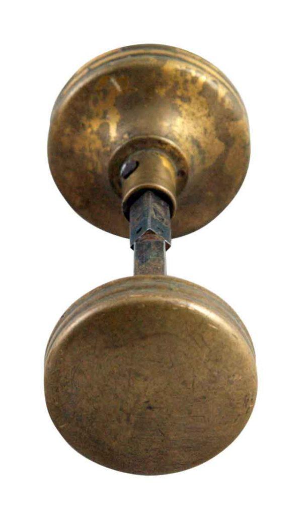 Door Knobs - Simple Brass Ridge Sided Door Knob Set
