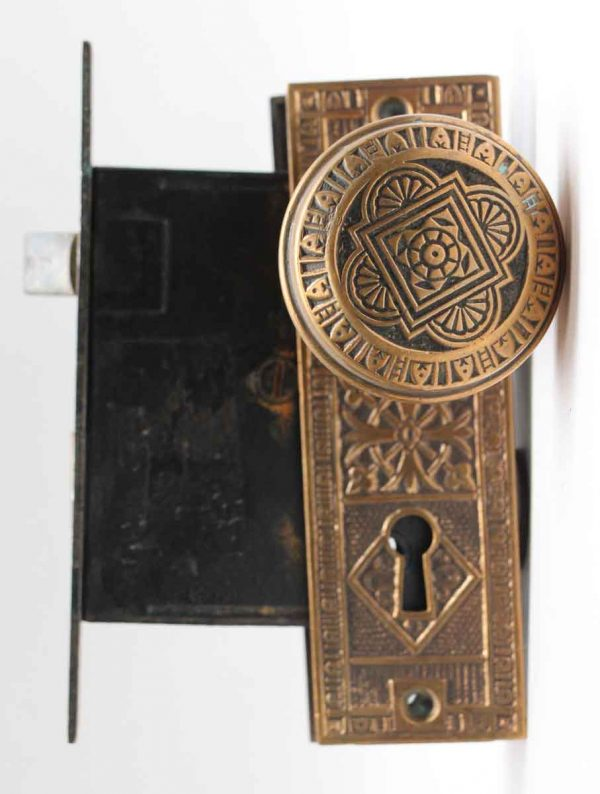 Door Knobs - Vernacular Eastlake Door Knob Set with Plate & Lock