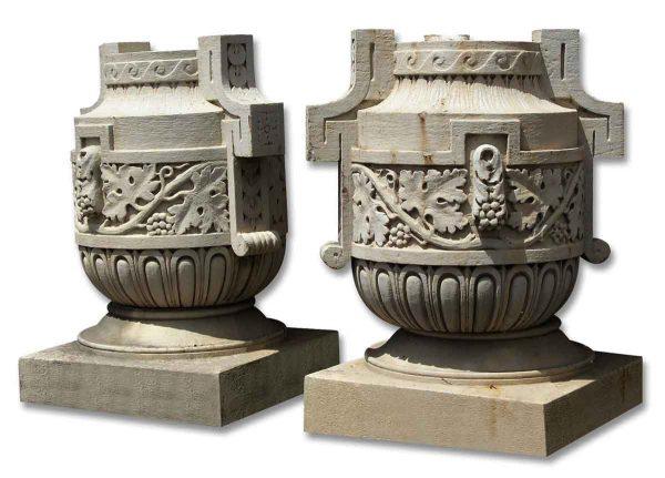 Garden Elements - Huge Pair of Decorative Limestone Urns