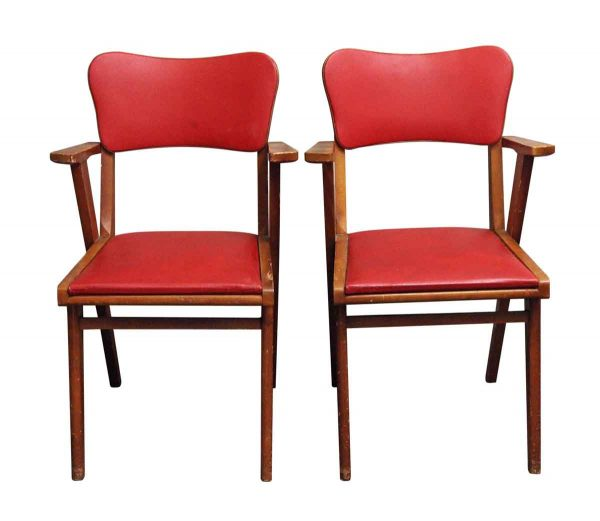Kitchen & Dining - European Pair of Red Wood Base Chairs