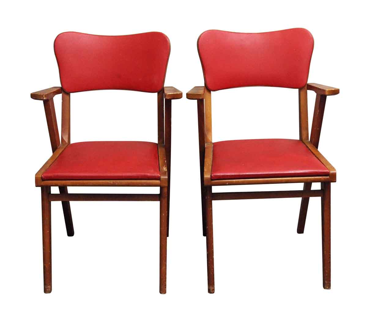 Kitchen U0026 Dining   European Pair Of Red Wood Base Chairs