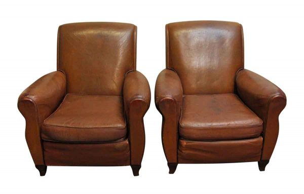 Living Room - Leather Vintage Imported Club Chairs