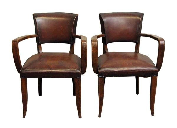 Living Room - Pair of European Bridge Chairs with Dark Wood Frame