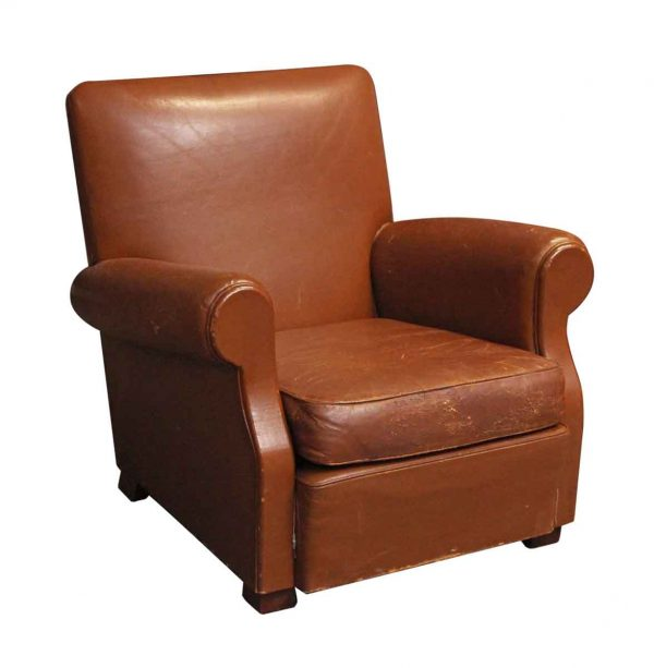 Living Room - Single European Leather Club Vintage Chair