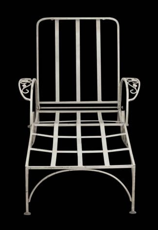 Reclaimed White Metal Patio Lounge Chair